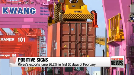 Korea's exports jump 26.2% in first 20 days of February