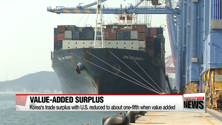 Korea's trade surplus with U.S. reduced to about one-fifth when value added