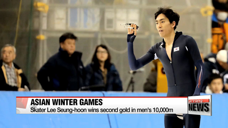 Speed skater Lee Seung-hoon wins gold in men's 10,000m