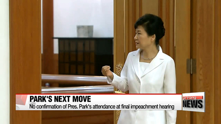 Pres. Park undecided on final impeachment hearing appearance