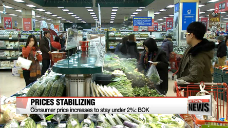 BOK says further drastic consumer price hike unlikely