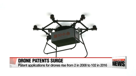 Korea's patent filings for drones rise from 2 in 2008 to 102 in 2016
