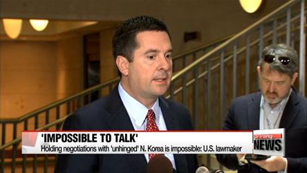 Holding negotiations with 'unhinged' N. Korea is impossible: U.S. lawmaker