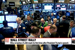 Dow smashes 21,000 mark for first time after Trump speech