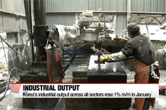 Korea's industrial output across all sectors rose 1% m/m in January