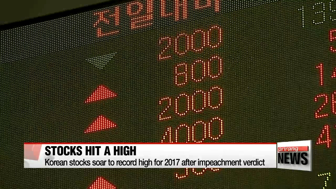 Korean stocks soar to record high for 2017 after impeachment verdict