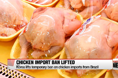 Korea lifts temporary ban on chicken imports from Brazil