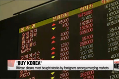 Korean shares most bought stocks by foreigners among emerging markets