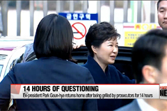 Former president Park Geun-hye returns home after 21 hours at prosecutors' office