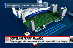 Sewol-ho ferry raised from water, placed on semi-submersible ship