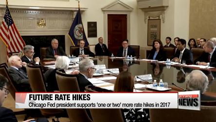 Chicago Fed president supports 'one or two' more rate hikes in 2017
