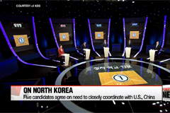 S. Korea's presidential candidates clash over N. Korea during TV debate