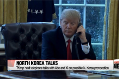 Trump holds telephone talks with Abe and Xi on N. Korea