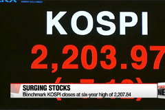 Korea's benchmark KOSPI marks six-year-high Wednesday, exceeding 2200 threshold