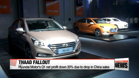 Hyundai Motor Company's Q1 net profit plummets by about 20 percent ue to drop in sales in China