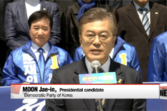 Moon focuses on security, Ahn on technology in Wednesday campaign stops