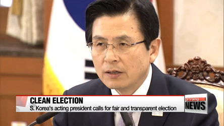S. Korea's acting president calls for fair and transparent election