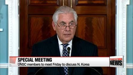 Special UN meeting on North Korea to be held Friday with top diplomats
