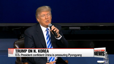 U.S. Pres. Donald Trump emphasize China's role in reining in N. Korea