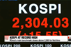 Korean stocks close at record high of 2,304