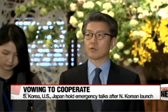 Representatives for North Korea policies in S. Korea, U.S. and Japan vow to closely cooperate