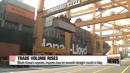 South Korea's exports, imports rose for seventh straight month in May