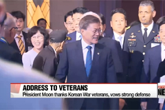 President Moon thanks Korean War veterans and vows to defend nation's safety