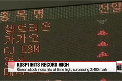 Korean stocks hit all time high, surpassing 2,400 mark