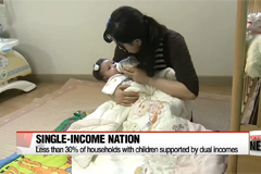 Korea's double income household rate with a child under 14 years old is half of OECD average