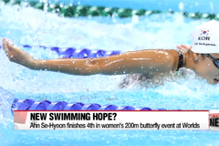 Korean swimmer An Se-Hyeon finishes 4th in women's 200m butterfly event at Worlds