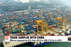 Korea's trade surplus with China dwindles in 2016