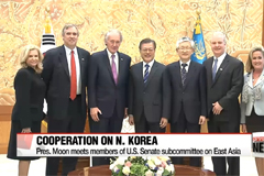 Pres. Moon meets with U.S. and Japanese lawmakers, discussing Seoul's North Korean policies