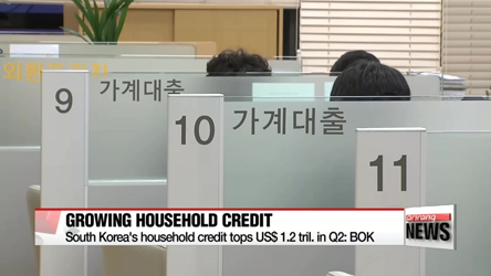 South Korea's household credit tops US$ 1.2 tril. in Q2: BOK
