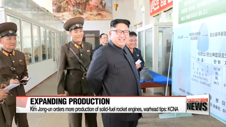 Kim Jong-un steps-up production of solid-fuel rocket engines and warhead tips: KCNA