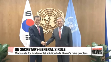 South Korean President Moon seeks UN chief's active role in mediating North Korea problem, tells Korean Americans solution to N. Korea nukes will be discussed with global leaders