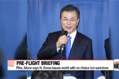 Moon reconfirms now is time to enhance pressure and sanctions on North Korea