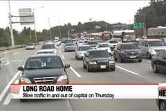 Heavy traffic for Koreans driving to capital