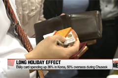 S. Korea's long holiday boosted card spending: Data