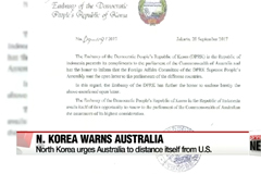 North Korea sends letter to Australia, urging them to turn away from Trump