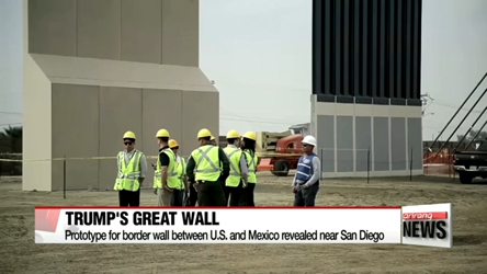 Prototypes for Trump's border wall with Mexico unveiled