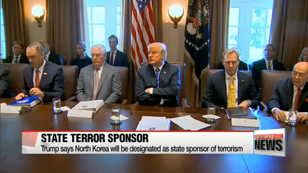 Trump designates North Korea as state sponsor of terrorism