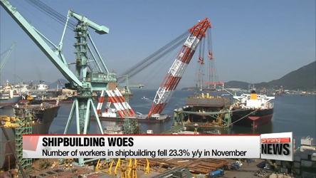 Number of workers in shipbuilding industry falls over 23% y/y in Nov.