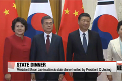 President Moon attends state dinner hosted by his Chinese counterpart
