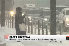 Heavy snow in Seoul with some central regions getting 10 cm of snow