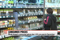 Korea's consumer prices up 1.5 percent on-year in December