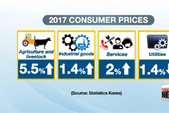 Korea's overall consumer prices for 2017 jump 1.9% on-year