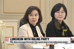 Pres. Moon invites representatives of Democratic Party for lunch as encouragement