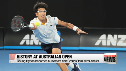 Chung Hyeon becomes S. Korea's first grand slam semi-finalist