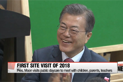 Pres. Moon visits public daycare center in support of pro-parenting policies