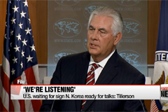 U.S. waiting for sign N. Korea ready for talks: Tillerson